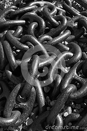 Detail of a large anchor chain