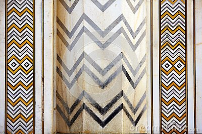 Detail marbled mosaic of symmetric jagged lines