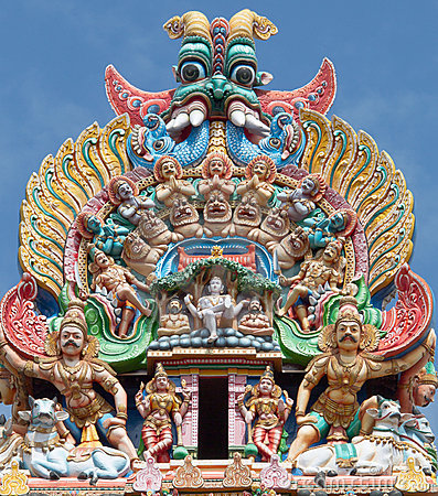 Detail of Meenakshi temple in Maduray - India