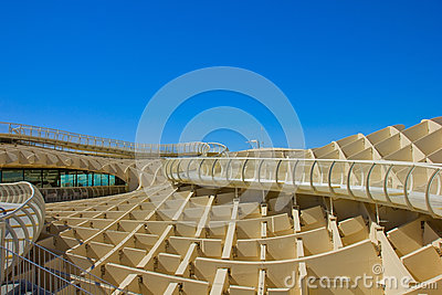 Detail of Metropol Parasol in Sevilla,Spain Editorial Stock Photo