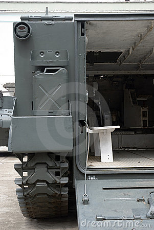Detail of Military battlefield transport vehicle.