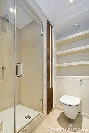 Detail of a modern en-suite shower room