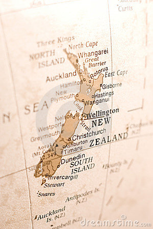 Detail of New Zealand on a Globe