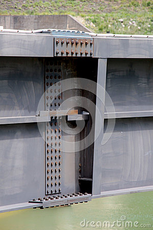 Free Detail Of A Dam, The Steel Beams Bolted Royalty Free Stock Photo - 40424865