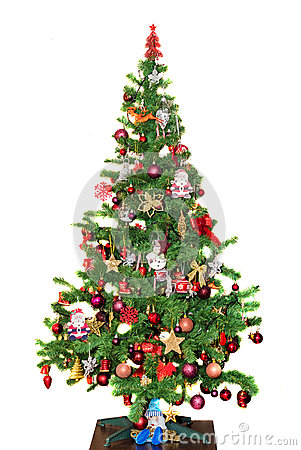 Free Detail Of Green Christmas (Chrismas) Tree With Colored Ornaments, Globes, Stars, Santa Claus, Snowman Stock Images - 48022054