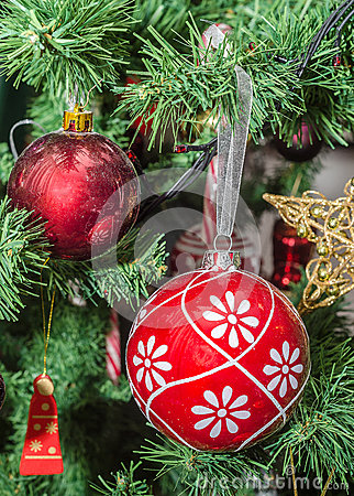 Free Detail Of Green Christmas (Chrismas) Tree With Colored Ornaments, Globes, Stars, Santa Claus, Snowman Royalty Free Stock Photo - 48213675