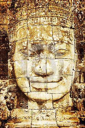 Free Detail Of Vintage Stone Face In The Bayon Temple At Angkor Wat Stock Photos - 31716253