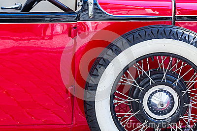 Detail of an oldtimer with spare wheel