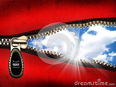 Detail of an opened zipper