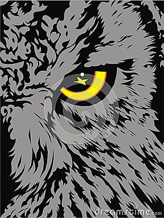 Detail of owl (his yellow eye)
