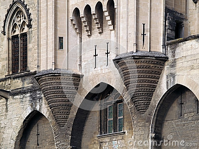 Detail of the Palais des Papes, Avignon, France