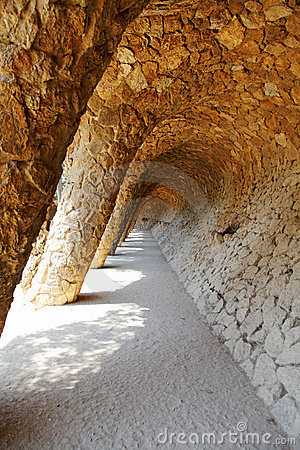 Detail of Park Guell, designed by Antonio Gaudi