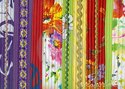 Detail of patchwork fabric handmade from strips
