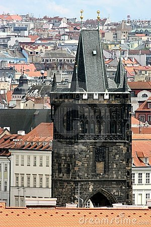 Detail of powder tower in Prague