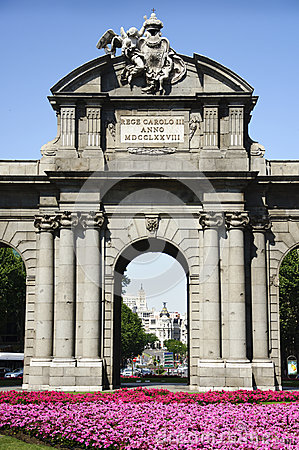 Detail of Puerta de Alcala in Madrid, Spain