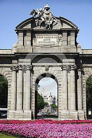 Detail of Puerta de Alcala in Madrid, Spain