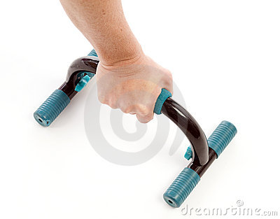 Detail push up fitness bars woman exercising