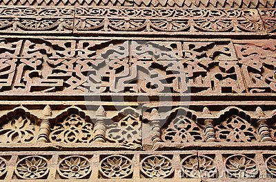 Detail of Qutub Minar complex in Delhi,Uttar Pradesh,India