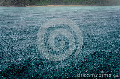 Detail of raindrops on the ocean water during the storm