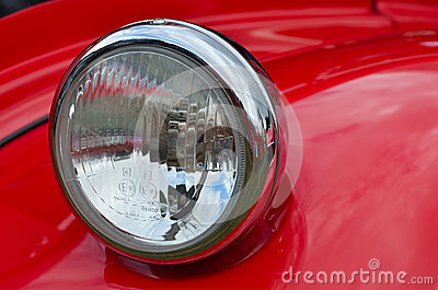 Detail of red headlamp