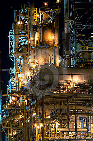 Detail of a refinery at night