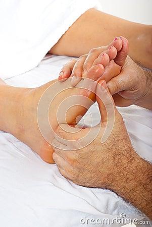 Detail of reflexology massage