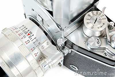 Detail of retro old vintage analog photo camera
