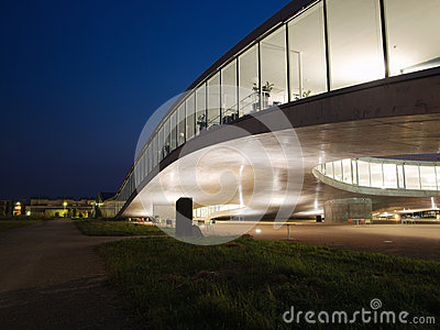 Detail Of Rolex Learning Center At EPFL After Sunset