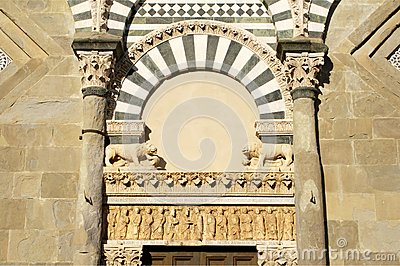 Detail of romanesque church in tuscany