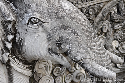 Detail of a sculpture elephant