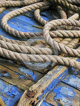 Free Detail Ship Blue . Object Weathered Wood And Rope Stock Photo - 45756140