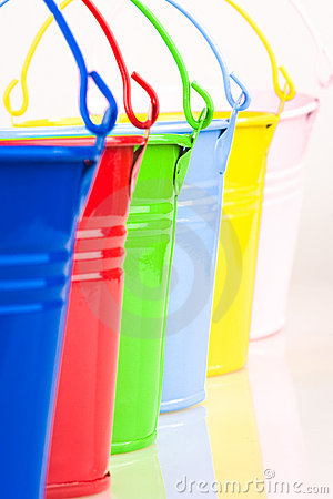 Detail of six coloured buckets