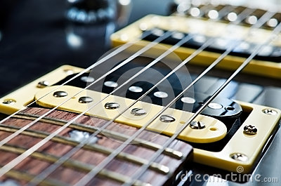 Detail of six-string electric guitar