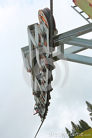Detail of ski lift wheels