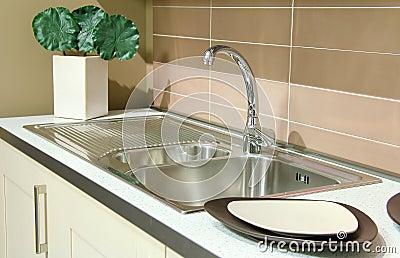 Detail of a steel stylish sink