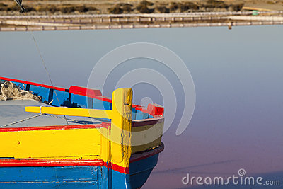 Detail view of a colorfully painted fishing Boat
