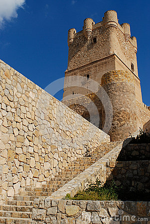 Detail of Villena castle, Alicante, Spain