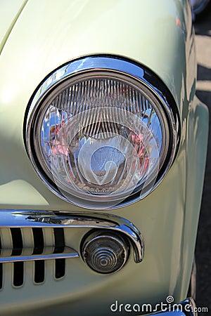 Detail of a vintage car front