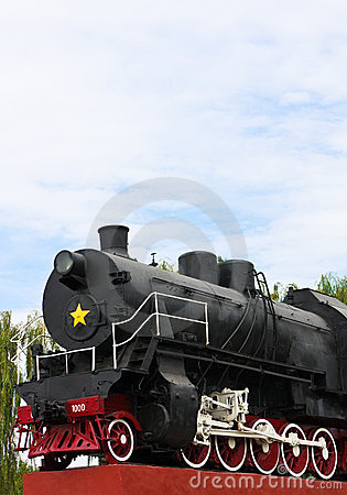Detail of vintage steam engine locomotive