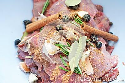 Detail of wild boar meat