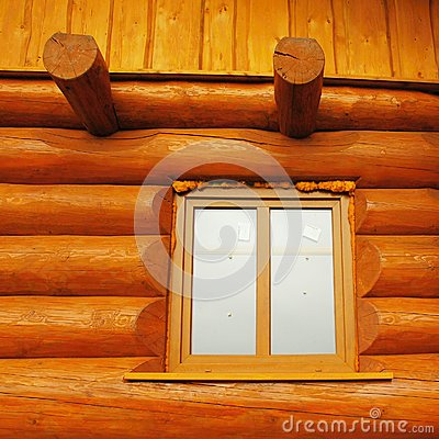 Detail Of Window Built In Wooden Beams Cabin Wall Stock
