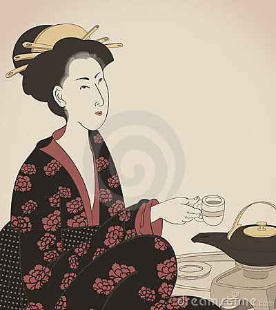 Detail of a woman drinking tea- Japanese style dra