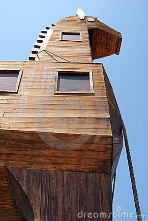 Detail of wooden trojan horse