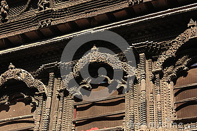 Detail of wooden window kumari bahal nepal stock photo for Window design in nepal