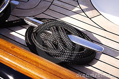 Detail yacht rope and cleat