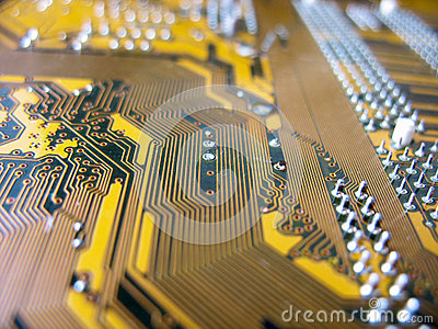Detail of yellow circuit board