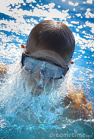Detail of young man swimming