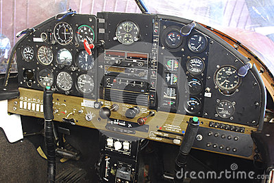 Detailed airplane cockpit