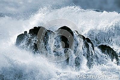 Detailed big crashing wave