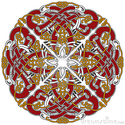 Detailed celtic design element with birds